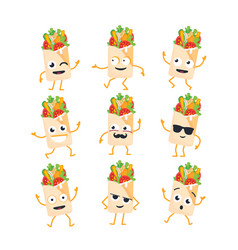 Shawarma - set of mascot vector