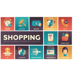 Shopping - modern flat design icons set vector