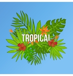 Summer tropical background of palm leaves flower vector