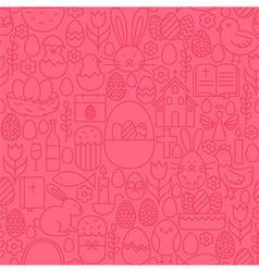 Thin line happy easter seamless pink pattern vector
