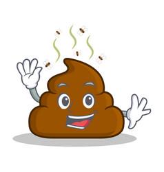 Waving poop emoticon character cartoon vector
