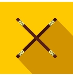 Wooden sword bokken flat icon vector