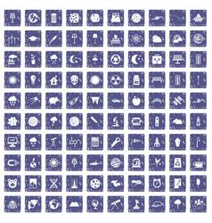 100 moon icons set grunge sapphire vector