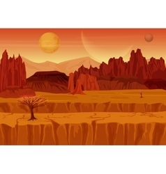 Fairy game sci-fi red mars alien landscape nature vector