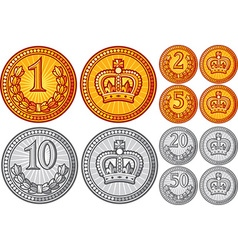 Metal coin collection vector