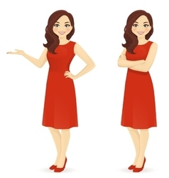 Beautiful woman in red dress vector