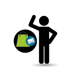 Silhouette man with email shop market vector