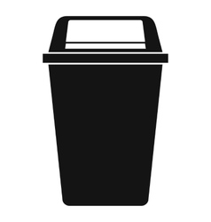 Plastic flip lid bin icon simple style vector