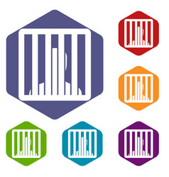 Man behind jail bars icons set vector