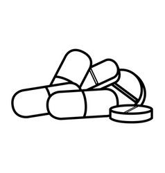 Pills and capsules drugs isolated icon vector