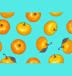Seamless pattern with mandarins tropical fruits vector
