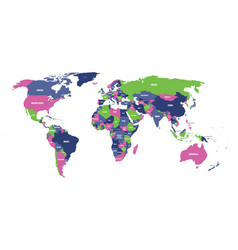 Political map of world in four colors with white vector