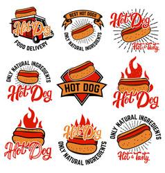 Hot dog labels handwritten lettering logo label vector