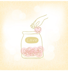Jars with hearts vector