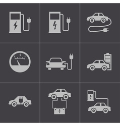 Black electric car icons set vector