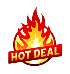 Hot deal fire badge price sticker flame vector