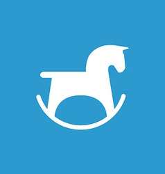 Horse toy icon white on the blue background vector