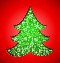 Cutout paper christmas tree with snowflakes vector