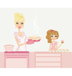 Happy mother helping her daughter cooking cake in vector