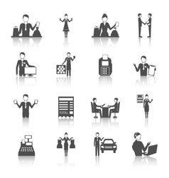 Salesman monochrome icons set vector