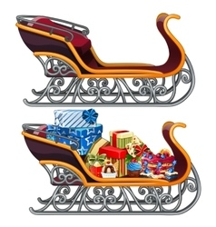 Sleigh filled with christmas gifts isolated vector