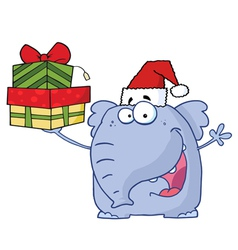 christmas elephant holds up gifts vector image