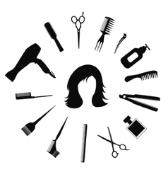 Woman hairstyle icons vector
