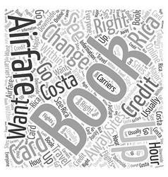 Airfares to costa rica word cloud concept vector