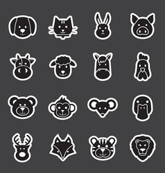 animal face set vector image vector image