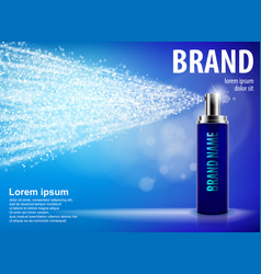 blue spray bottle isolated on blue background with vector image vector image
