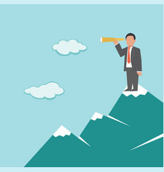 businessman with telescope on mountain vector image