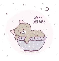 cartoon kitten sleeping vector image