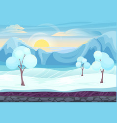 Cartoon winter game style landscape with with ice vector image vector image