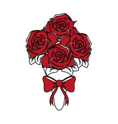 Color silhouette image wedding bouquet of red vector
