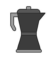 Colorful silhouette metallic tea pot for hot vector