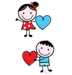 Cute stick Kids holding hearts for Valentines Day vector image