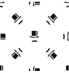 cylinder and moustaches pattern seamless black vector image
