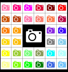 Digital camera sign felt-pen 33 colorful vector