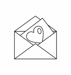 Envelope with heart icon outline style vector image vector image