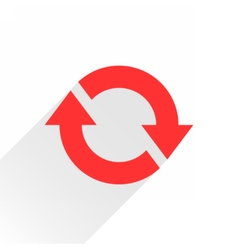 Flat red arrow icon rotation sign on white vector