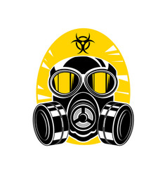 gas mask with lenses and a hood sign chemical vector image vector image