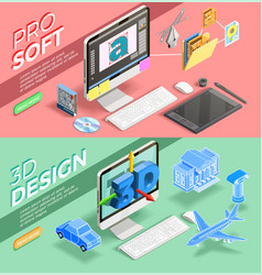 Graphic design isometric banners vector