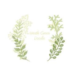 Green scribble branch frame card template vector