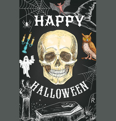 halloween sketch poster horror skull vector image
