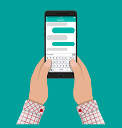 hands and smartphone with messaging sms app vector image