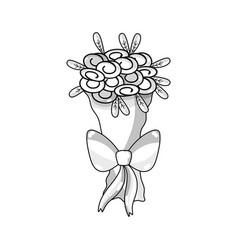 Line beautiful flower bouquet decoration design vector