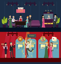 people in casino horizontal banners vector image vector image