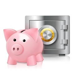 Piggy bank with safe print vector