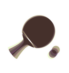 Ping pong paddle with ball colorful icon vector
