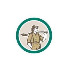 Prospector miner with shovel circle retro vector